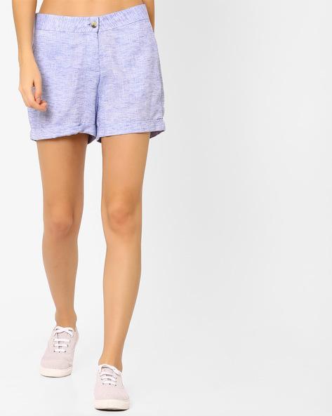 Shorts With Upturned Hems By AJIO ( Lightblue )