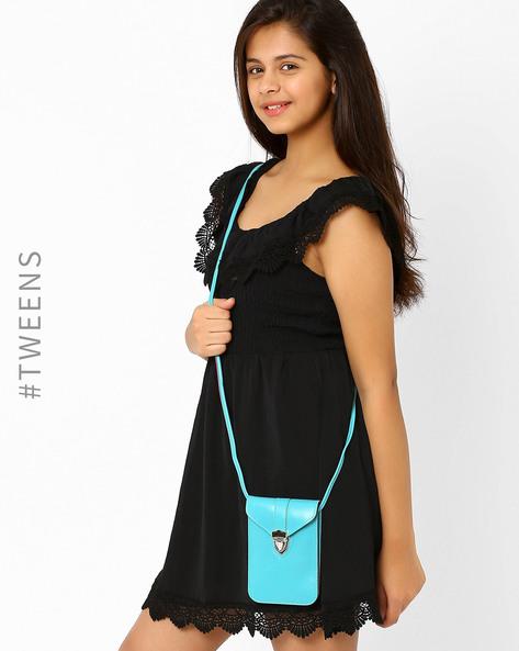 Faux Leather Sling Bag By Tessa Moda ( Lightblue )