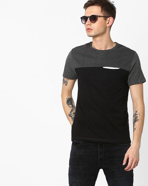 Cut & Sew Slim T-shirt By AJIO ( Black )