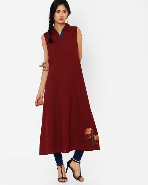 Sleeveless Dress With Collar By AJIO ( Mauve )