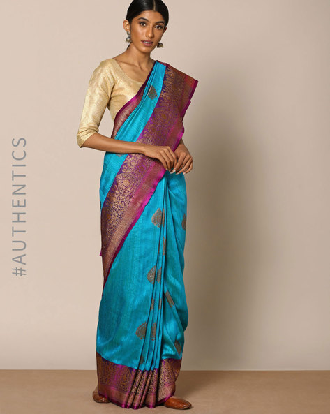 Pure Silk Banarasi Buta Antique Zari Saree By Rudrakaashe-MSU ( Blue ) - 460128223001
