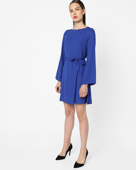 A-line Dress With Tie-Up Belt By AJIO ( Navyblue )