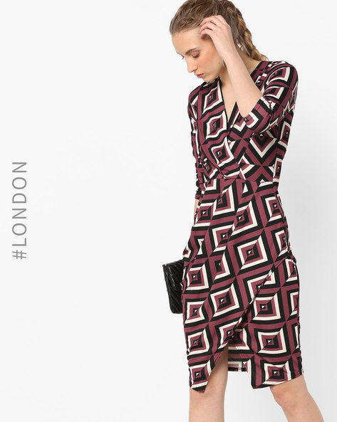 Printed Sheath Dress By Closet London ( Multi )