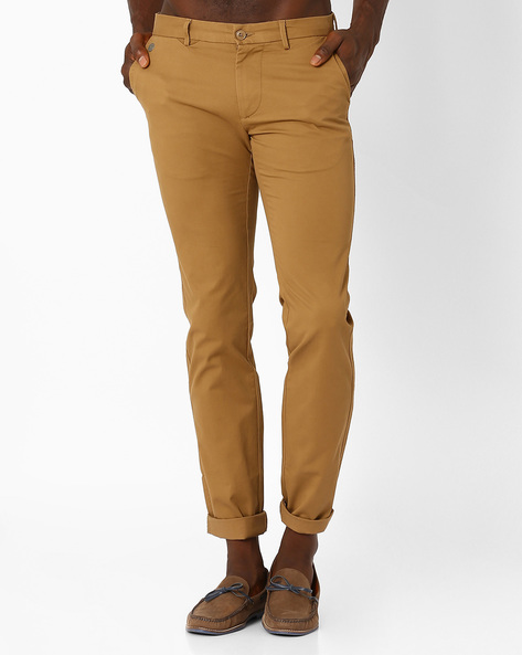Flat-Front Slim Fit Trousers By INDIAN TERRAIN ( Tan )