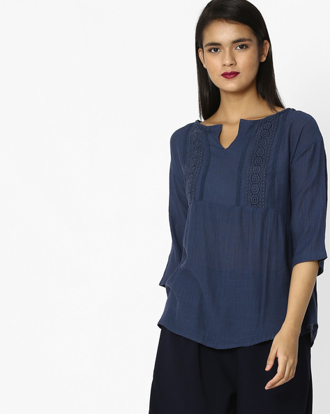 Top With Embroidered Yoke By Tokyo Talkies ( Blue )