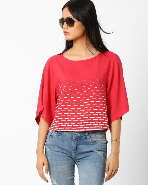 Top With Kimono Sleeves By Global Desi ( Pink )