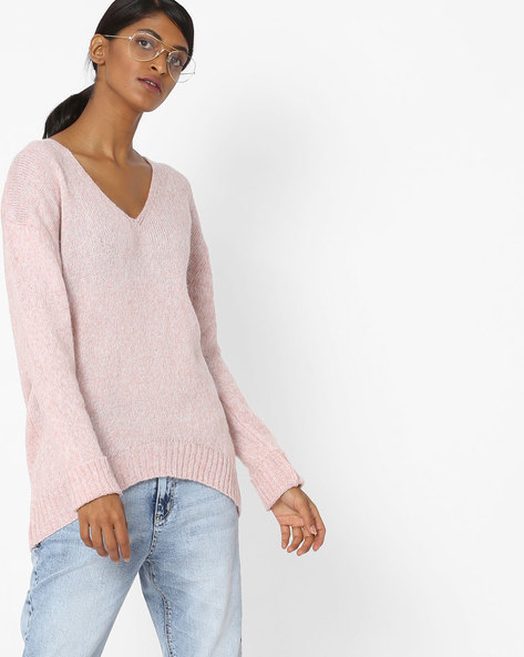 High-Low Sweater With Ribbed Hems By Ginger By Lifestyle ( Pink )