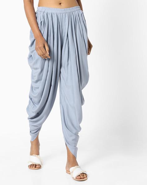 Dhoti Pants With Elasticated Waist By AJIO ( Grey )