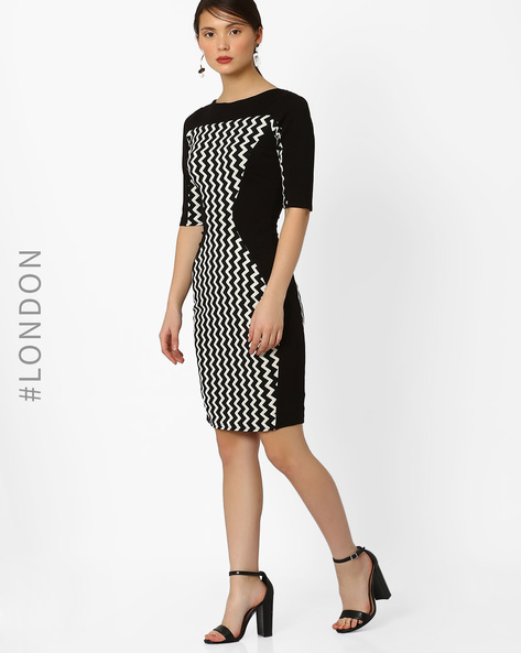 Printed Bodycon Dress By Closet London ( Black )