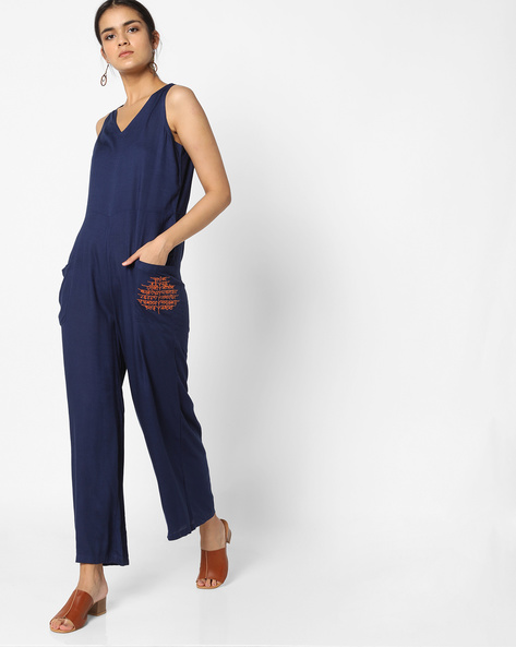 Jumpsuit With Patch Pockets By AJIO ( Blue )
