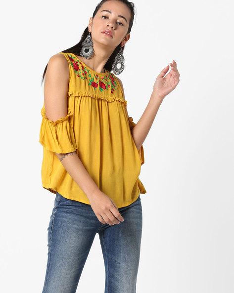 Cold-Shoulder Top With Floral Embroidery By Ginger By Lifestyle ( Yellow )