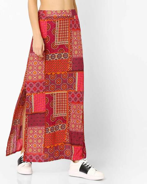 Printed Straight Fit Skirt With Slits By Global Desi ( Pink )