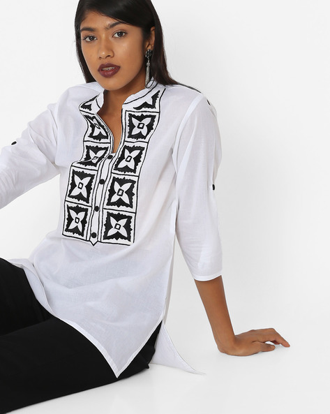 A-line Kurti With Embroidered Yoke By KIRA ( White )