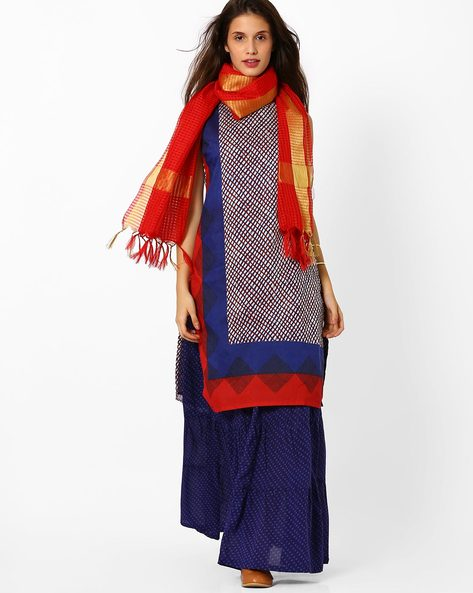 Printed Skirt Kurta With Dupatta By AVAASA SET ( Blue )