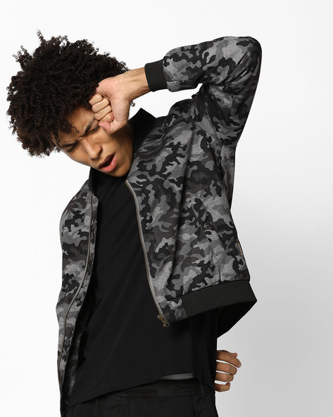 Camouflage Print Bomber Jacket With Stand Collar By FLYING MACHINE ( Assorted )