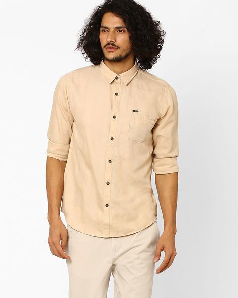 Slim Fit Cotton Shirt By SIN ( Beige ) - 460027317002