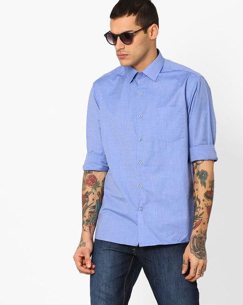 Slim Fit Cotton Shirt By JOHN PLAYERS ( Blue )