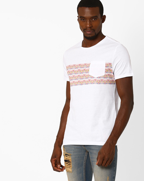 T-shirt With Patch Pocket By AJIO ( White )
