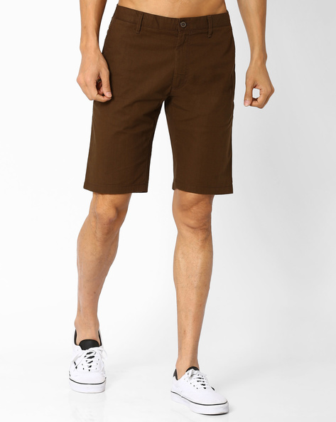 Slim Fit Flat-Front Shorts By INDIAN TERRAIN ( Brown )