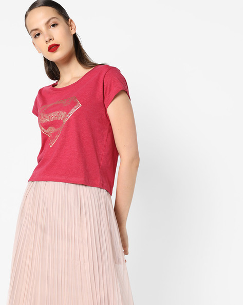 Superman Print Crew-Neck T-Shirt By Free Authority ( Red )