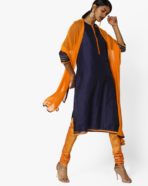 Churidar Kurta With Contrast Dupatta Set By AJIO ( Navy )