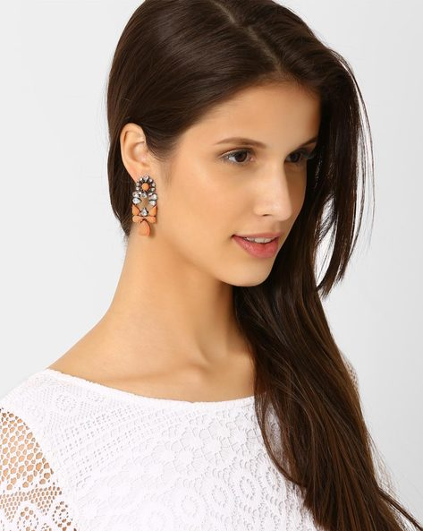 Statement Earrings With Beads By Style Fiesta ( Peach )