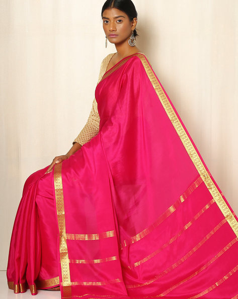 Pure Mysore Silk Crepe Saree By Indie Picks ( Magenta )