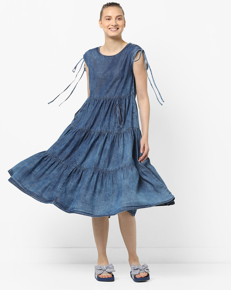 Gathered Dress With Insert Pockets By Tokyo Talkies ( Blue )