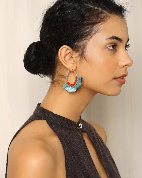 Glass Beaded Bali Earrings With Tassels By Indie Picks ( Blue )
