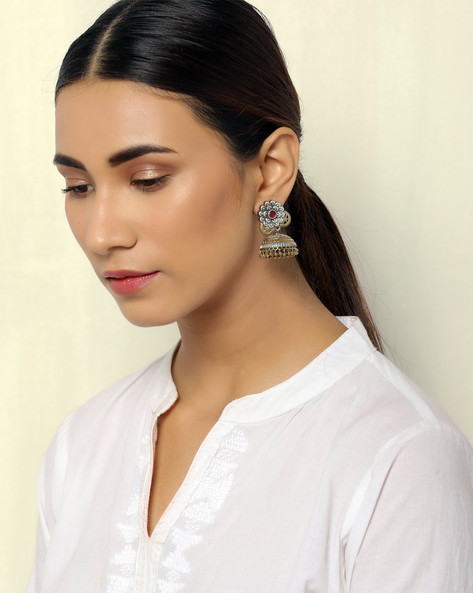 Two-Toned Floral Brass Jhumkas By Indie Picks ( Multi )