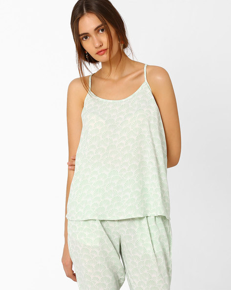 Printed Spaghetti Top By AJIO ( Olive )