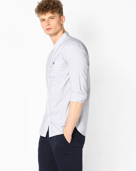 Striped Shirt With Curved Hem By SUPERDRY ( Urq )
