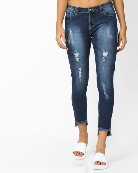 Slim Fit Distressed Jeans With Step Hems By AJIO ( Indigo )