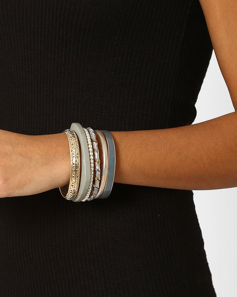 Set Of 6 Bangles By Bauble Beads ( Grey )