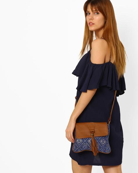 Printed Canvas Sling Bag By Kanvas Katha ( Blue )