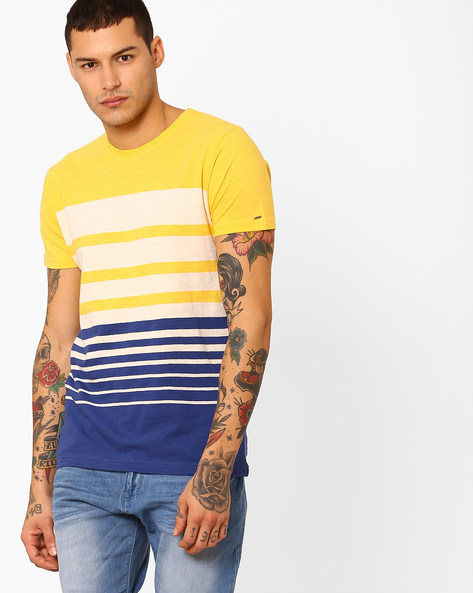 Striped Slim Fit Cotton T-shirt By Pepe Jeans ( Gold )