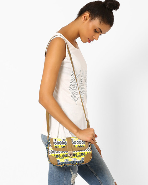 Printed Canvas Sling Bag By Kanvas Katha ( Multi )