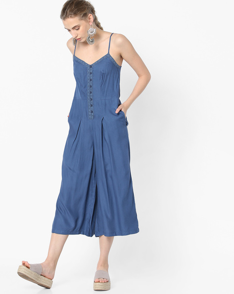 Strappy Jumpsuit With Pockets By Oxolloxo ( Blue )