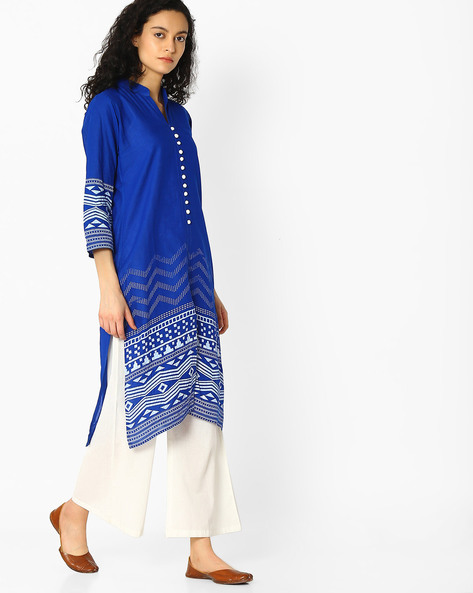 Straight Kurta With Printed Panels By Mmantra ( Blue )