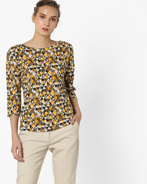 Printed Top With Cutout Back By UNITED COLORS OF BENETTON ( Multi )