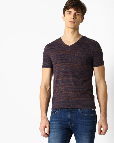 Heathered Slim Fit T-shirt By Celio ( Indigo )