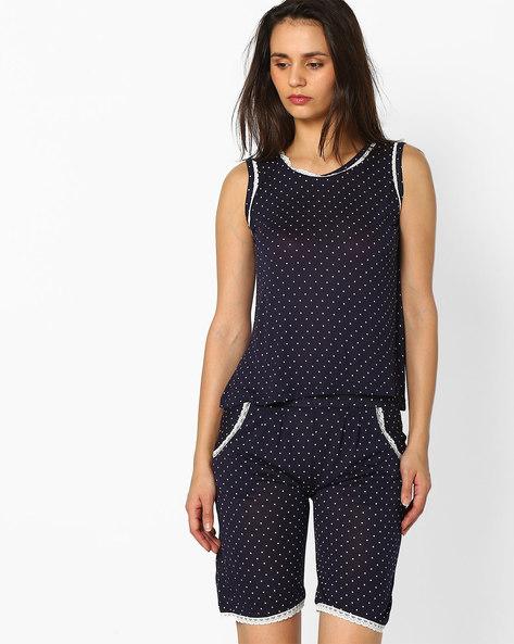 Printed Loungewear Set By Clovia ( Blue )