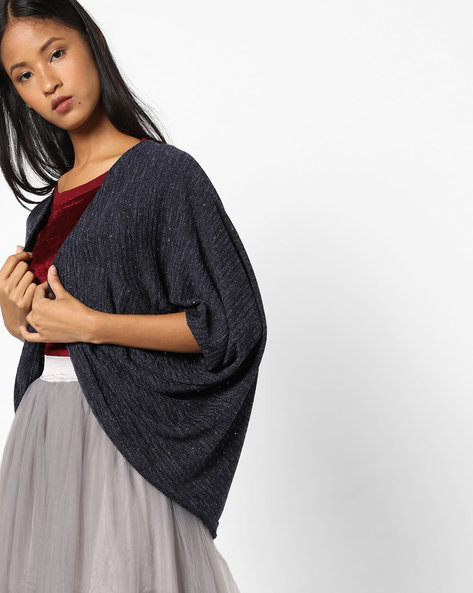 Open-Front Shrug With Dolman Sleeves By AJIO ( Navy )