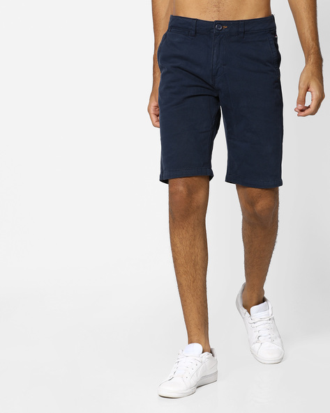 Flat-Front Cotton Shorts By The Indian Garage Co ( Navy )