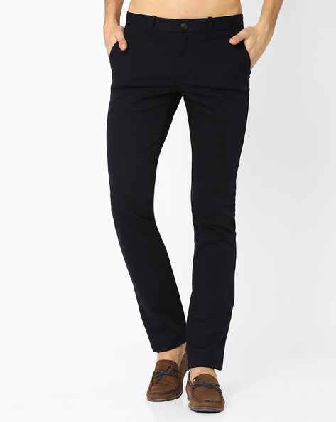 Flat-Front Slim Fit Trousers By INDIAN TERRAIN ( Navyblue )