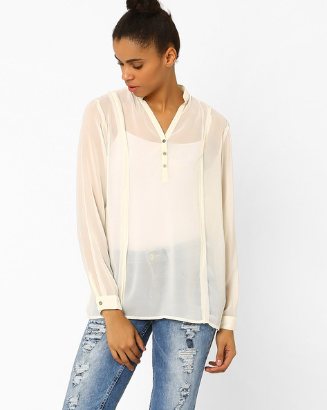 Sheer Top With Mandarin Collar By Femella ( Offwhite )