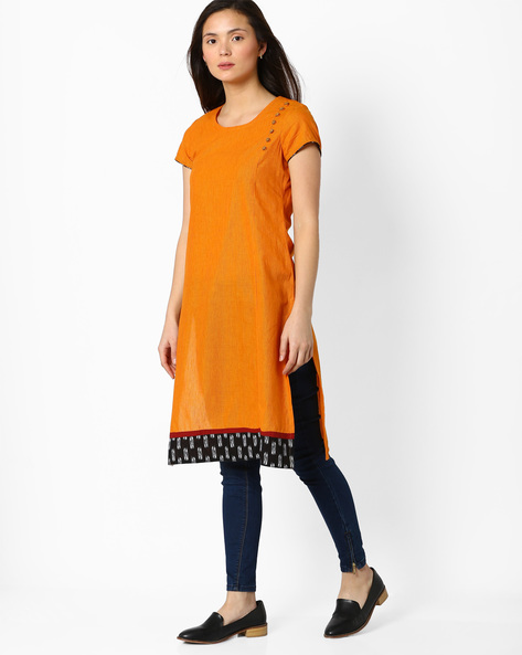 Straight Kurta With Contrast Hem By SIYAHI ( Orange )