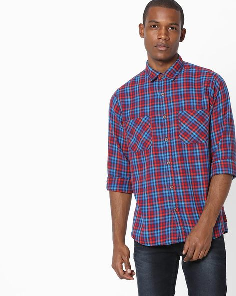 Checked Shirt With Twin Pockets By AJIO ( Red )