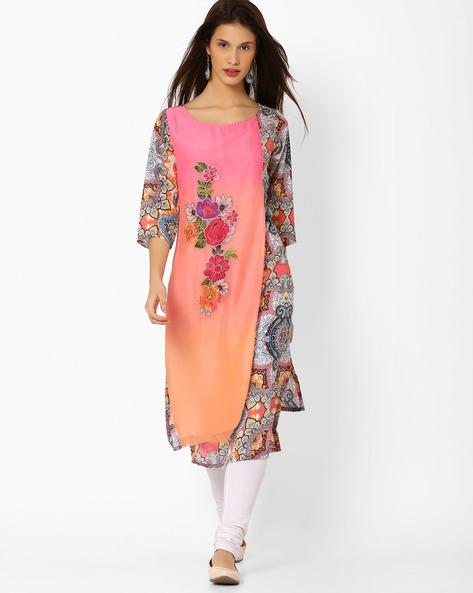 Floral Print Layered Kurta By Shakumbhari ( Pink )