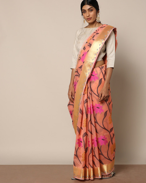 Banarasi Silk Cutwork Floral Jaal Saree By Banarasi Style ( Peach )